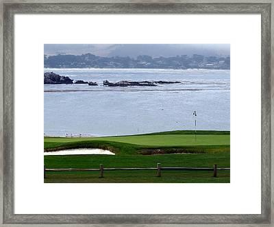 Pebble Beach 18th Flag Framed Print