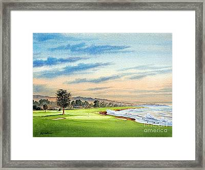 Framed Print featuring the painting Pebble Beach Golf Course 18th Hole by Bill Holkham