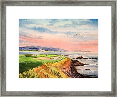 Framed Print featuring the painting Pebble Beach Golf Course Hole 7 by Bill Holkham