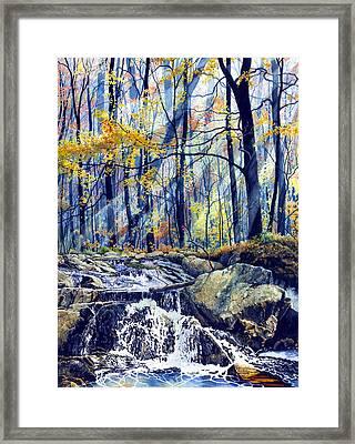 Pebble Creek Autumn Framed Print by Hanne Lore Koehler