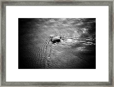 Pebble In The Water Monochrome Framed Print by Raimond Klavins