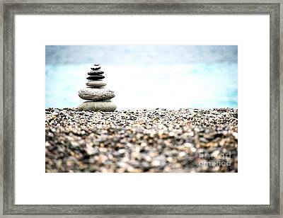 Pebble Stone On Beach Framed Print
