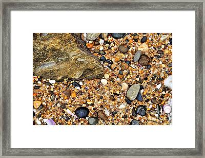 Pebbles And Sand Framed Print by Kaye Menner