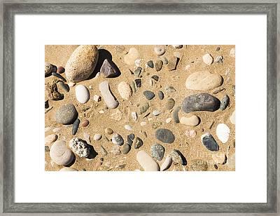 Pebbles On Beach Pattern Framed Print