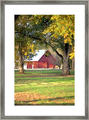 Framed Print featuring the photograph Pecan Orchard Barn by Gordon Elwell
