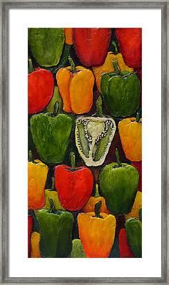 Peck Of Peppers Framed Print by Linda Carmel