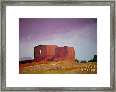 Framed Print featuring the painting Pecos Mission Landscape by Eric  Schiabor