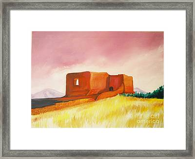Framed Print featuring the painting Pecos Mission Nm by Eric  Schiabor