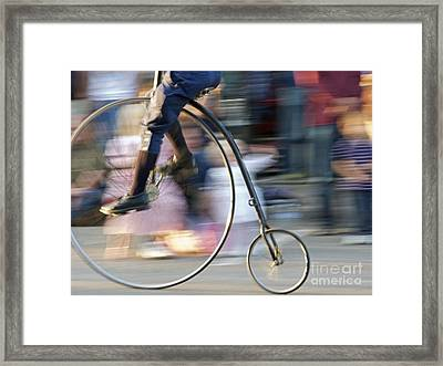 Pedaling Past Framed Print by Ann Horn