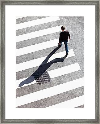 Pedestrain Crossing The Street On Zebra Framed Print by Panoramic Images