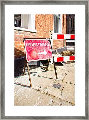 Pedestrian Sign Framed Print by Tom Gowanlock