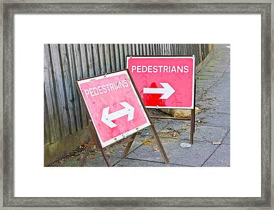 Pedestrian Signs Framed Print by Tom Gowanlock