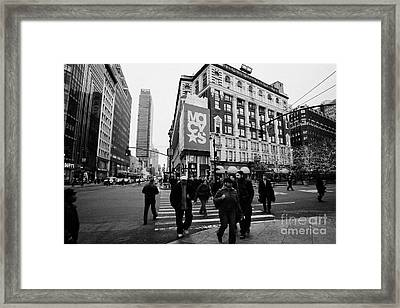 Pedestrians Cross Crosswalk Crossing Of 6th Avenue Broadway And 34th Street At Macys New York Usa Framed Print