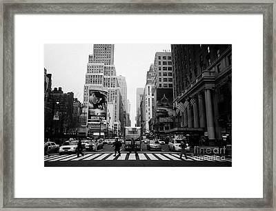 Pedestrians Crossing Cross Walk Between Pennsylvania Hotel And Penn Station On 7th Avenue New York Framed Print