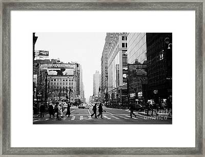 Pedestrians Crossing Crosswalk On West 34th Street And Sixth 6th Avenue At Herald Square New York Framed Print by Joe Fox