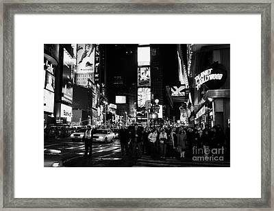 Pedestrians Waiting At Crosswalk Times Square New York City Night Framed Print by Joe Fox