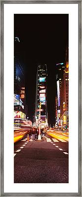 Pedestrians Waiting For Crossing Road Framed Print by Panoramic Images