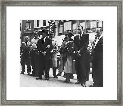 Pedestrians Watching Tv Framed Print