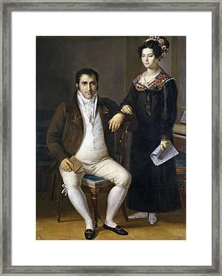 Pedro Benitez And His Daughter Maria De La Cruz Framed Print