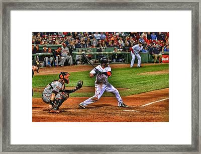 Pedroia At Bat Framed Print by SoxyGal Photography