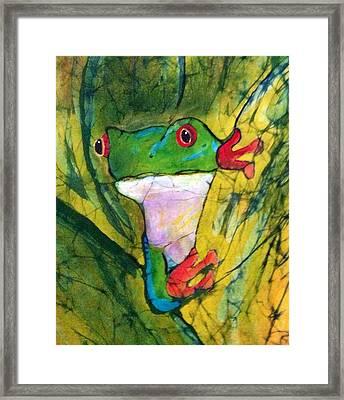 Peek-a-boo Frog Framed Print