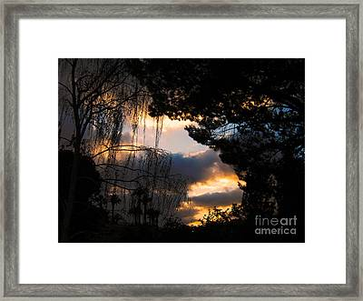 Framed Print featuring the photograph Peek A Boo Sunset by Janice Westerberg