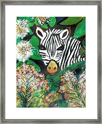 Peek-a-boo Zebra Framed Print by Anne-Elizabeth Whiteway