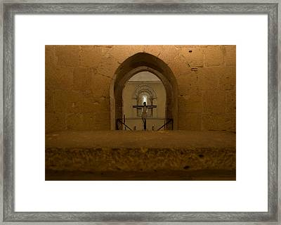 Peek From The Templar Altar Framed Print by Lorraine Devon Wilke