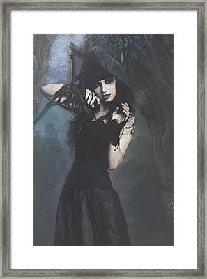 Peek Gothic Scene Framed Print by Galen Valle