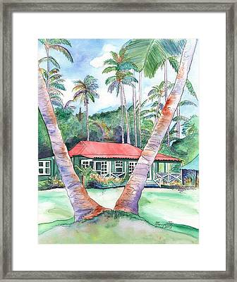 Peeking Between The Palm Trees 2 Framed Print
