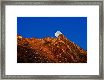 Peeking Full Moon Framed Print by Rebecca Adams