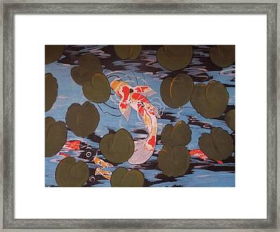 Peeking Koi Framed Print by Cindy Micklos