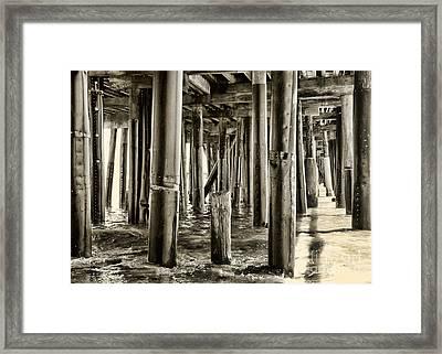 Peeking Under The Pier By Diana Sainz Framed Print