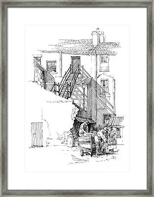 Framed Print featuring the drawing Peel Back Street by Paul Davenport