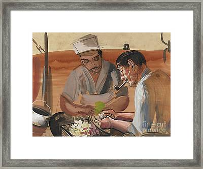Peeling Potatoes Framed Print by Celestial Images