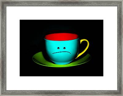 Peeved Colorful Cup And Saucer Framed Print by Natalie Kinnear