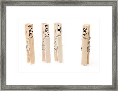 Peg Concept. Three Boys Flirt With A Single Girl Framed Print by Fizzy Image