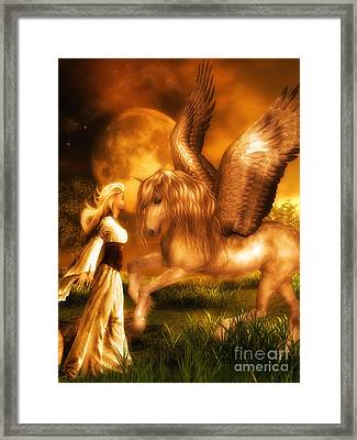 Pegasus And The Maiden Framed Print by Putterhug  Studio