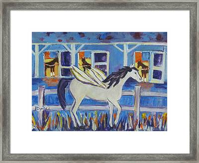 Pegasus At Race Track Framed Print by Betty Pieper