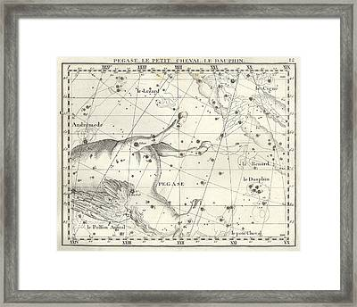 Pegasus, Equuleus And Delphinus Framed Print by U.S. Naval Observatory Library