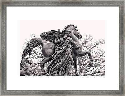 Pegasus Tamed By The Muses Erato And Calliope Framed Print by Bill Cannon