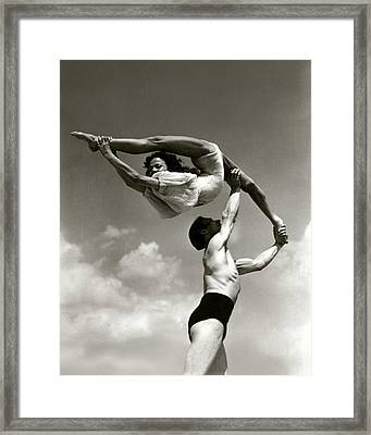 Peggy Taylor Practicing Her Routine With An Framed Print by Lusha Nelson