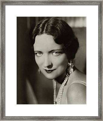 Peggy Wood Wearing A Pearl Necklace Framed Print