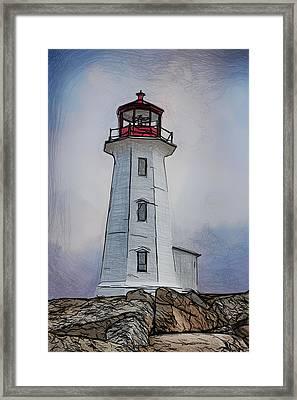 Peggys Cove Lighthouse Drawing Framed Print by John Haldane