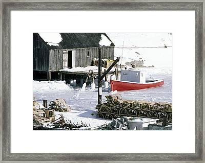 Peggy's Cove Nova Scotia Canada In Winter Framed Print