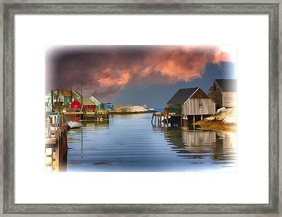 Peggys Cove Nova Scotia Near Sunset Framed Print