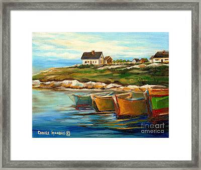 Peggys Cove With Fishing Boats Framed Print by Carole Spandau