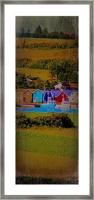 Pei Canada Landscape Photograph Boats At Harbour Framed Print by Laura Carter