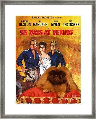 Pekingese Art - 55 Days In Peking Movie Poster Framed Print