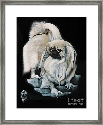 Framed Print featuring the painting Pekingnese by DiDi Higginbotham
